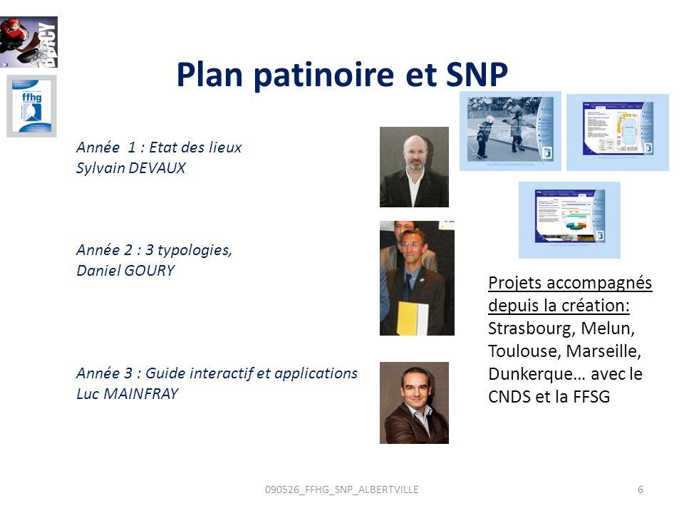 Année 1 : Etat des lieux Sylvain DEVAUX Année 2 : 3 typologies, Daniel GOURY Année 3 : Guide interactif et applications Luc MAINFRAY Plan patinoire et