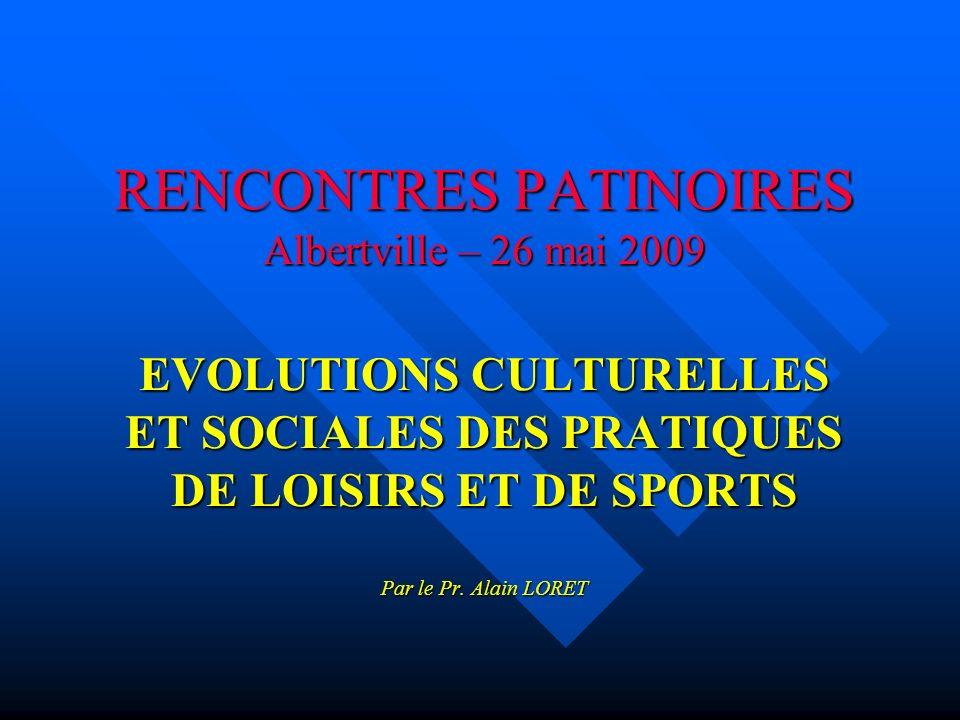 RENCONTRES PATINOIRES Albertville – 26 mai 2009 EVOLUTIONS CULTURELLES ET SOCIALES DES PRATIQUES DE LOISIRS ET DE SPORTS Par le Pr.