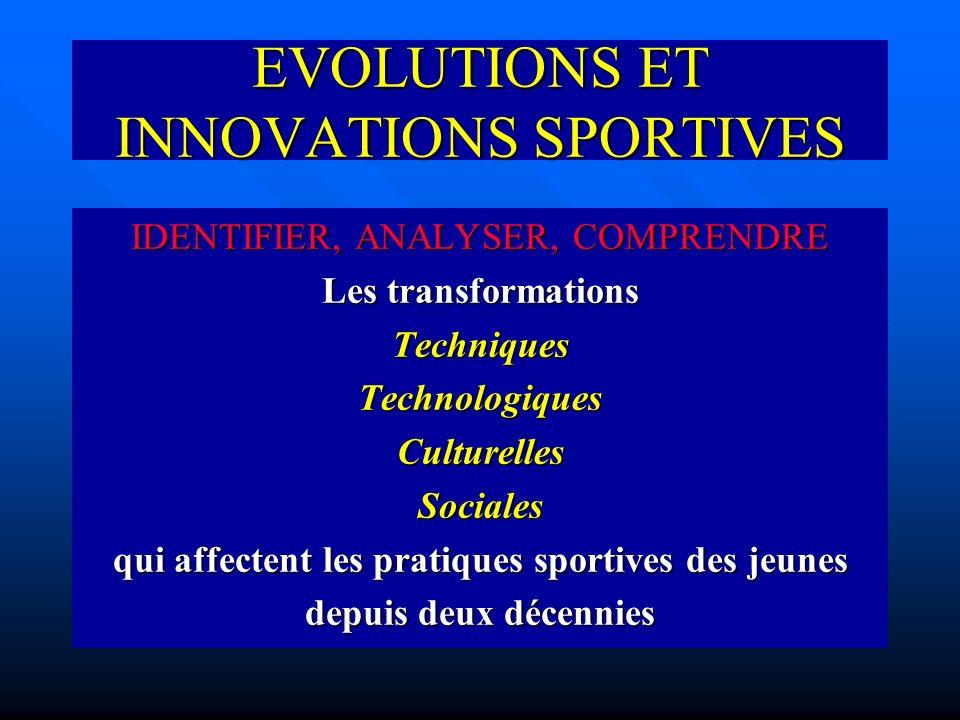 EVOLUTIONS ET INNOVATIONS SPORTIVES IDENTIFIER, ANALYSER, COMPRENDRE Les transformations TechniquesTechnologiquesCulturellesSociales qui affectent les pratiques sportives des jeunes depuis deux décennies