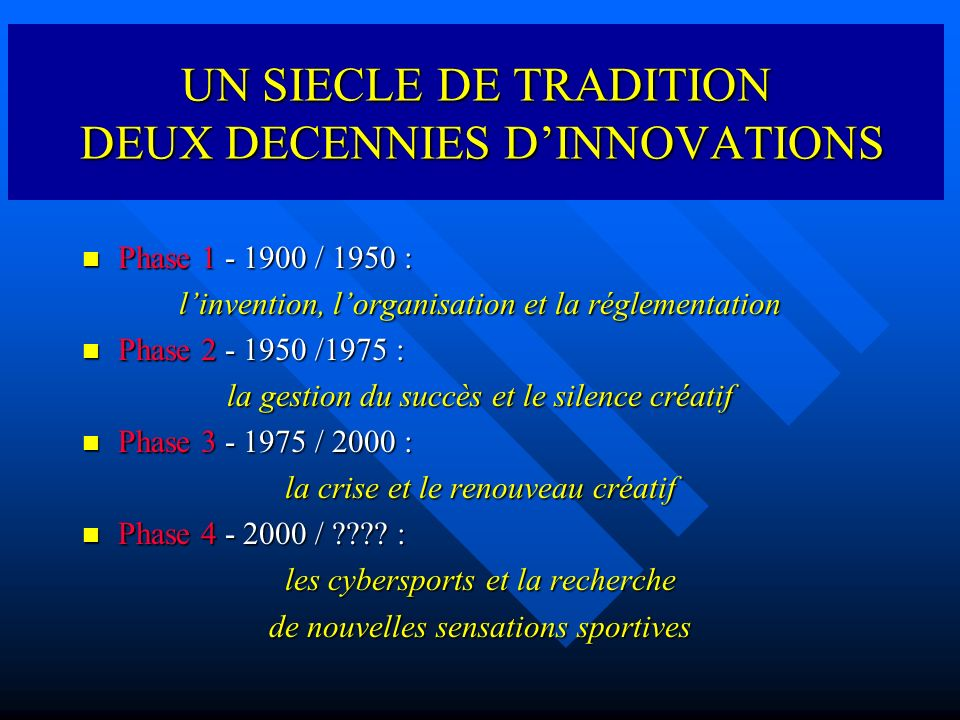 EVOLUTIONS ET INNOVATIONS SPORTIVES IDENTIFIER, ANALYSER, COMPRENDRE Les transformations TechniquesTechnologiquesCulturellesSociales qui affectent les pratiques sportives des jeunes depuis deux décennies