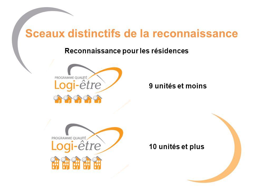 Sceaux distinctifs de la reconnaissance 10 unités et plus Reconnaissance pour les résidences 9 unités et moins