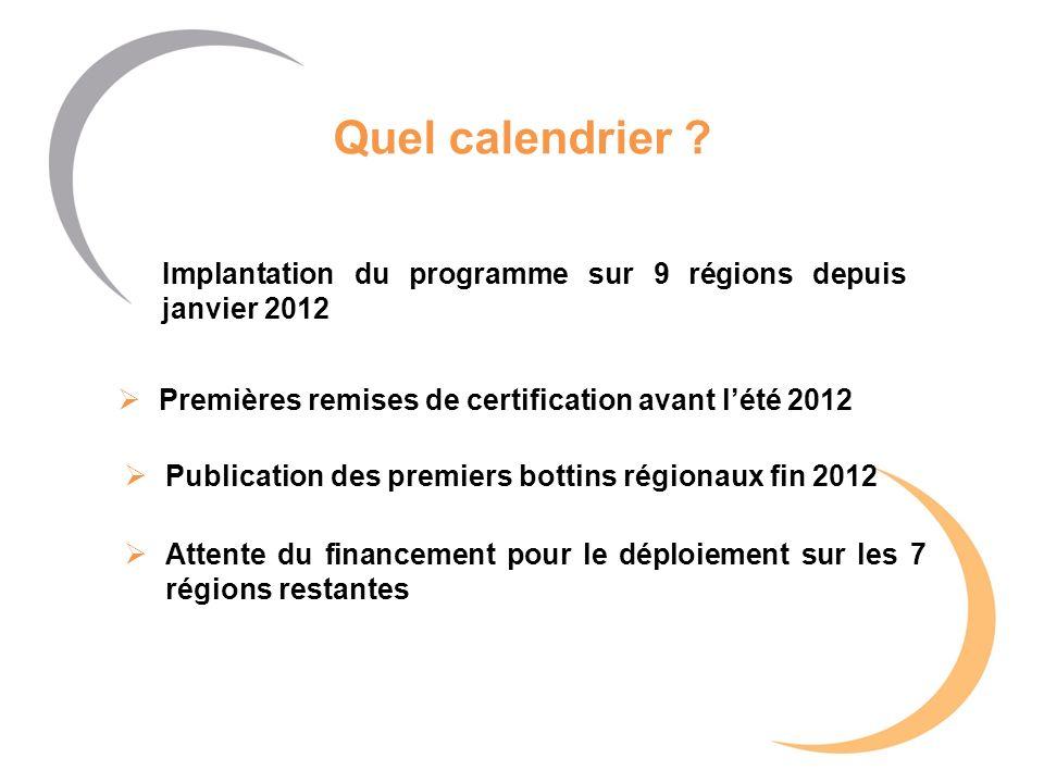 Quel calendrier ? Implantation du programme sur 9 régions depuis janvier 2012 Publication des premiers bottins régionaux fin 2012 Premières remises de