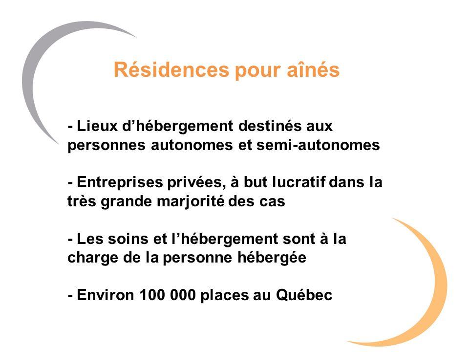 Résidences pour aînés - Lieux dhébergement destinés aux personnes autonomes et semi-autonomes - Entreprises privées, à but lucratif dans la très grand