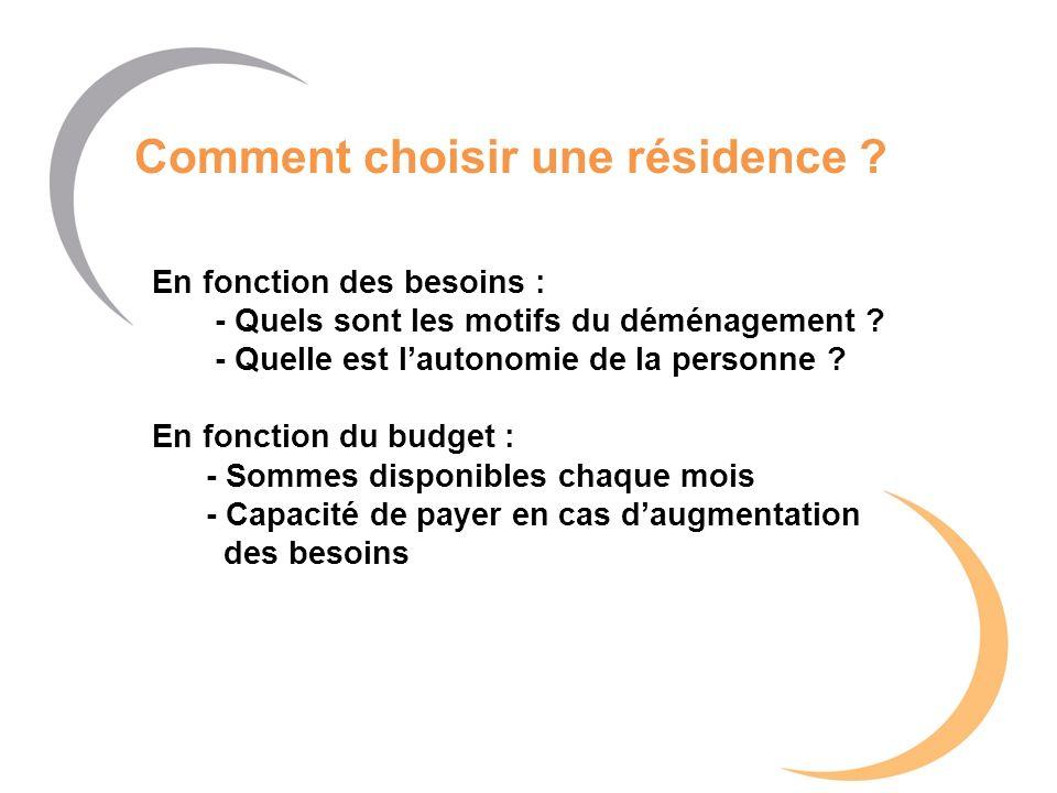 Comment choisir une résidence ? En fonction des besoins : - Quels sont les motifs du déménagement ? - Quelle est lautonomie de la personne ? En foncti
