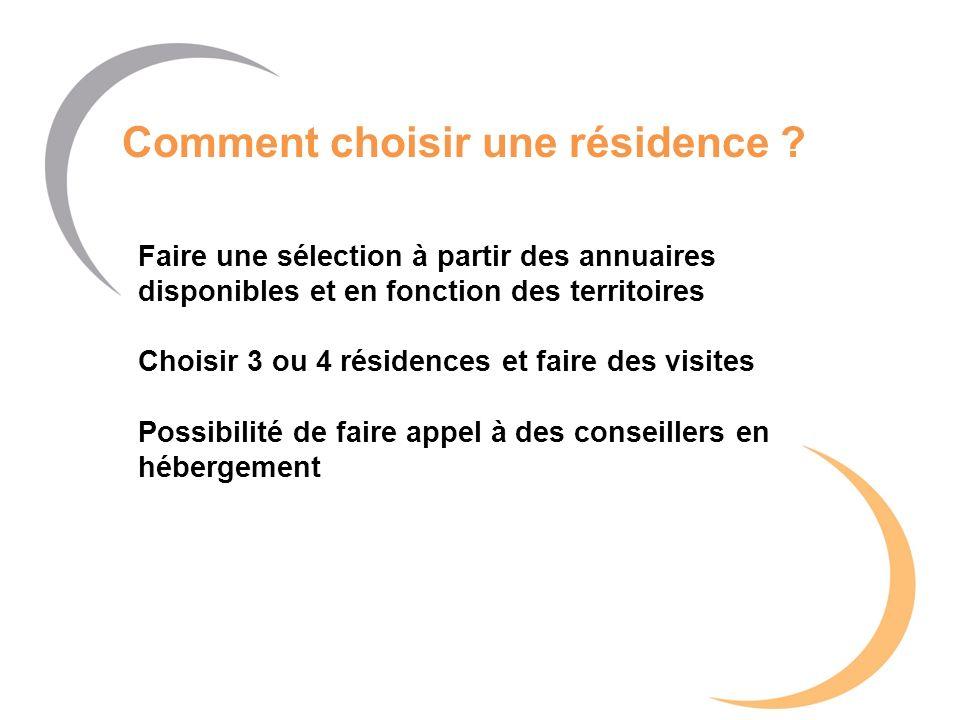 Comment choisir une résidence ? Faire une sélection à partir des annuaires disponibles et en fonction des territoires Choisir 3 ou 4 résidences et fai