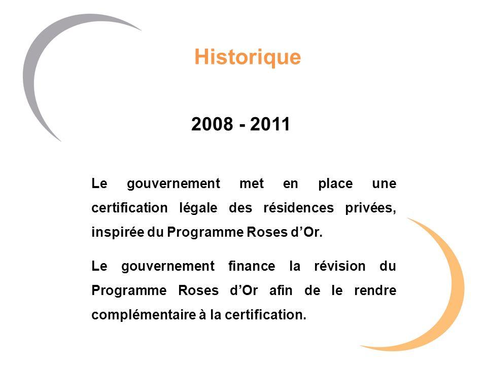 Historique 2008 - 2011 Le gouvernement met en place une certification légale des résidences privées, inspirée du Programme Roses dOr. Le gouvernement
