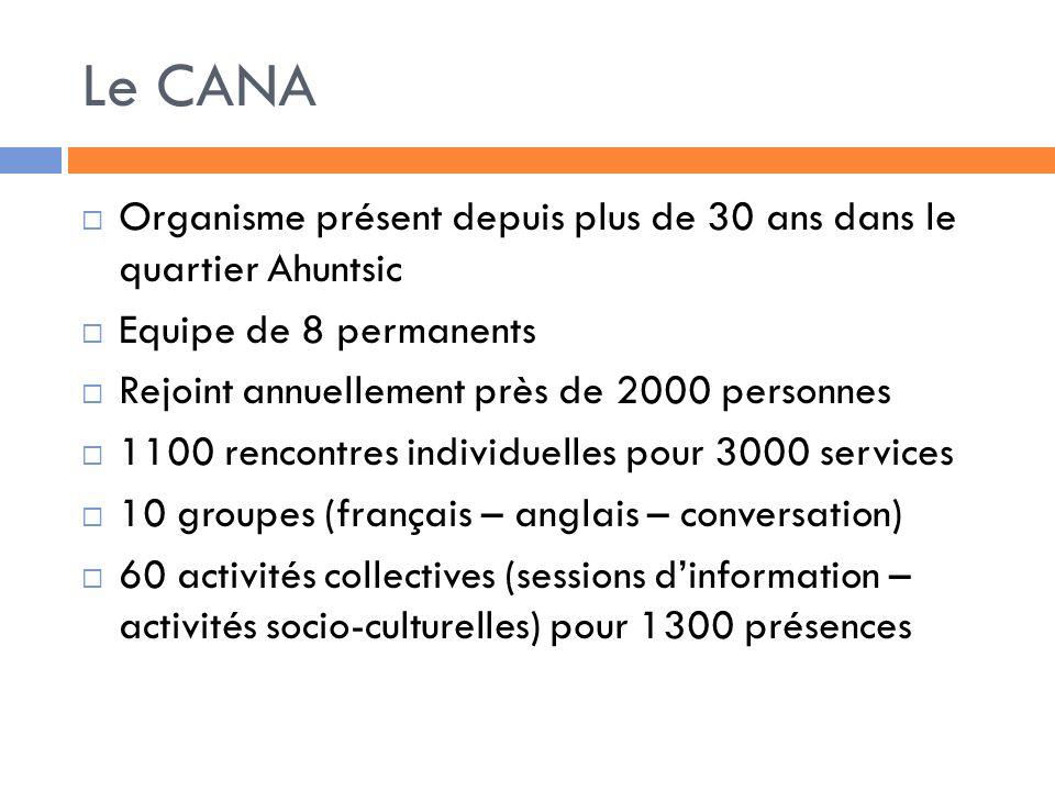 Le CANA Organisme présent depuis plus de 30 ans dans le quartier Ahuntsic Equipe de 8 permanents Rejoint annuellement près de 2000 personnes 1100 rencontres individuelles pour 3000 services 10 groupes (français – anglais – conversation) 60 activités collectives (sessions dinformation – activités socio-culturelles) pour 1300 présences