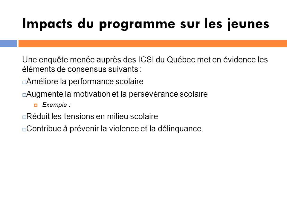 Impacts du programme sur les jeunes Une enquête menée auprès des ICSI du Québec met en évidence les éléments de consensus suivants : Améliore la performance scolaire Augmente la motivation et la persévérance scolaire Exemple : Réduit les tensions en milieu scolaire Contribue à prévenir la violence et la délinquance.