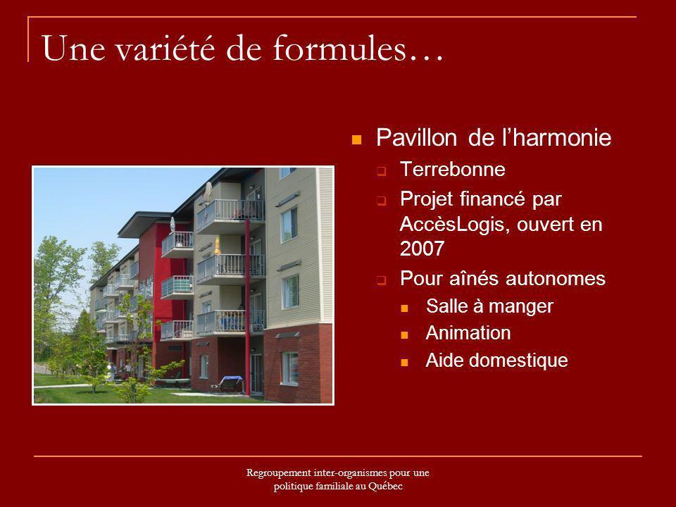 Regroupement inter-organismes pour une politique familiale au Québec Une variété de formules… Pavillon de lharmonie Terrebonne Projet financé par Accè