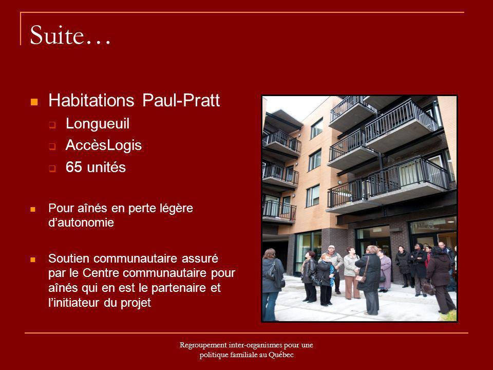Regroupement inter-organismes pour une politique familiale au Québec Suite… Habitations Paul-Pratt Longueuil AccèsLogis 65 unités Pour aînés en perte
