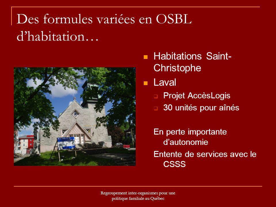 Regroupement inter-organismes pour une politique familiale au Québec Des formules variées en OSBL dhabitation… Habitations Saint- Christophe Laval Pro