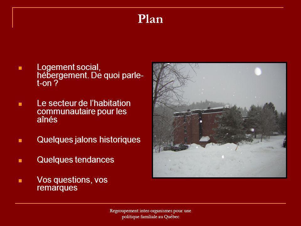 Regroupement inter-organismes pour une politique familiale au Québec Plan Logement social, hébergement. De quoi parle- t-on ? Le secteur de lhabitatio