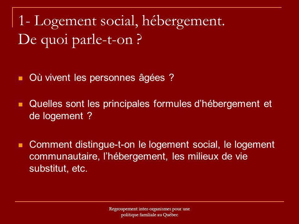 Regroupement inter-organismes pour une politique familiale au Québec 1- Logement social, hébergement. De quoi parle-t-on ? Où vivent les personnes âgé
