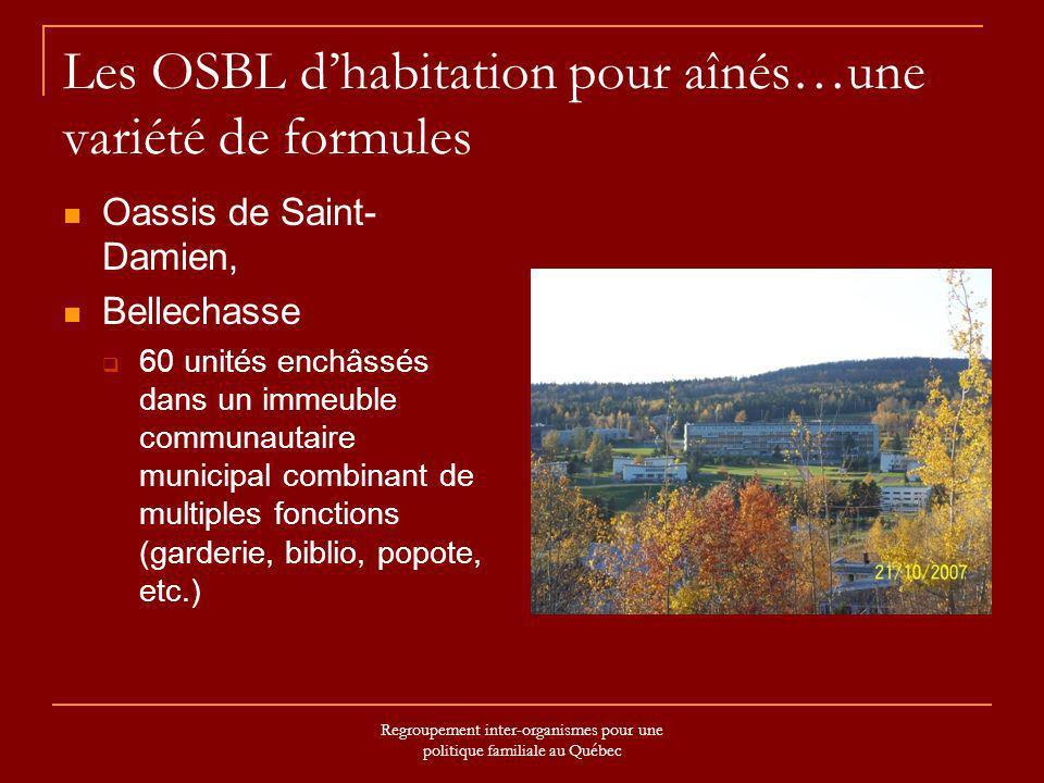 Regroupement inter-organismes pour une politique familiale au Québec …une variété de formules Centre multi-Services Saint-Cyprien Bas-Saint-Laurent Projet AccèsLogis ouvert en 2003