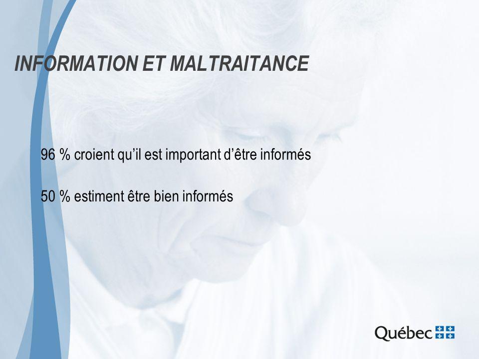 INFORMATION ET MALTRAITANCE 96 % croient quil est important dêtre informés 50 % estiment être bien informés