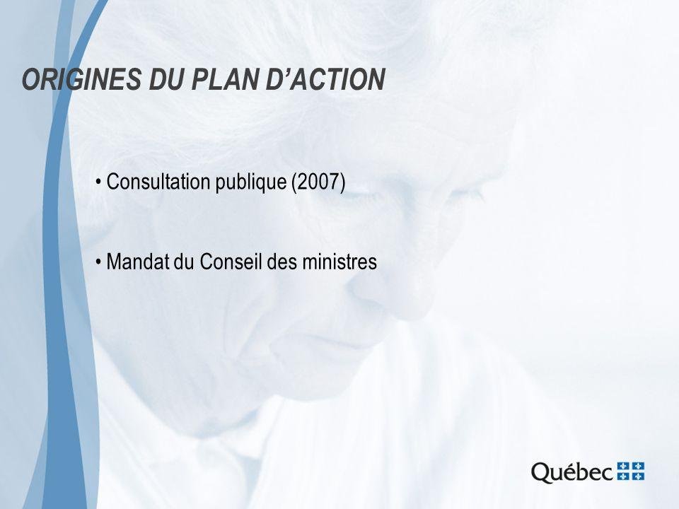 ORIGINES DU PLAN DACTION Consultation publique (2007) Mandat du Conseil des ministres
