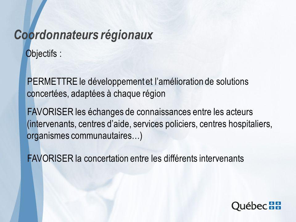 Coordonnateurs régionaux Objectifs : PERMETTRE le développement et lamélioration de solutions concertées, adaptées à chaque région FAVORISER les échan