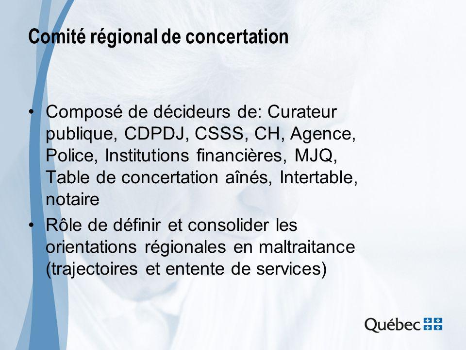 Comité régional de concertation Composé de décideurs de: Curateur publique, CDPDJ, CSSS, CH, Agence, Police, Institutions financières, MJQ, Table de c