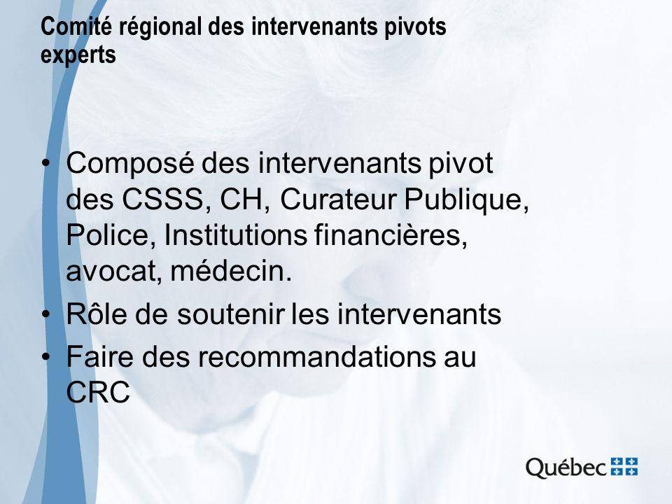 Comité régional des intervenants pivots experts Composé des intervenants pivot des CSSS, CH, Curateur Publique, Police, Institutions financières, avoc