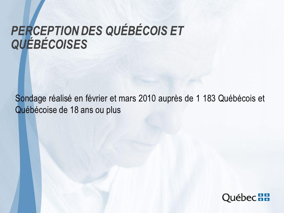 PERCEPTION DES QUÉBÉCOIS ET QUÉBÉCOISES Sondage réalisé en février et mars 2010 auprès de 1 183 Québécois et Québécoise de 18 ans ou plus