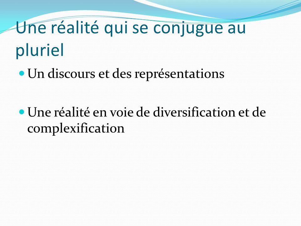 Une réalité qui se conjugue au pluriel Un discours et des représentations Une réalité en voie de diversification et de complexification
