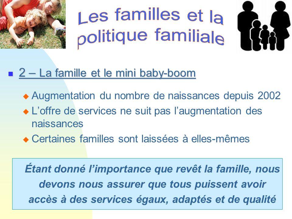 2 – La famille et le mini baby-boom 2 – La famille et le mini baby-boom Augmentation du nombre de naissances depuis 2002 Loffre de services ne suit pa