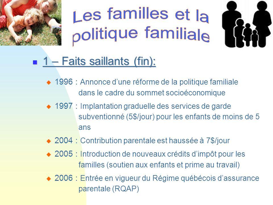 1 – Faits saillants (fin): 1 – Faits saillants (fin): 1996 : Annonce dune réforme de la politique familiale dans le cadre du sommet socioéconomique 19