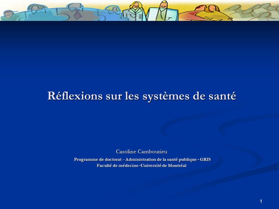 1 Réflexions sur les systèmes de santé Caroline Cambourieu Programme de doctorat – Administration de la santé publique - GRIS Faculté de médecine -Université de Montréal