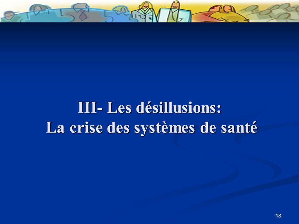 18 III- Les désillusions: La crise des systèmes de santé