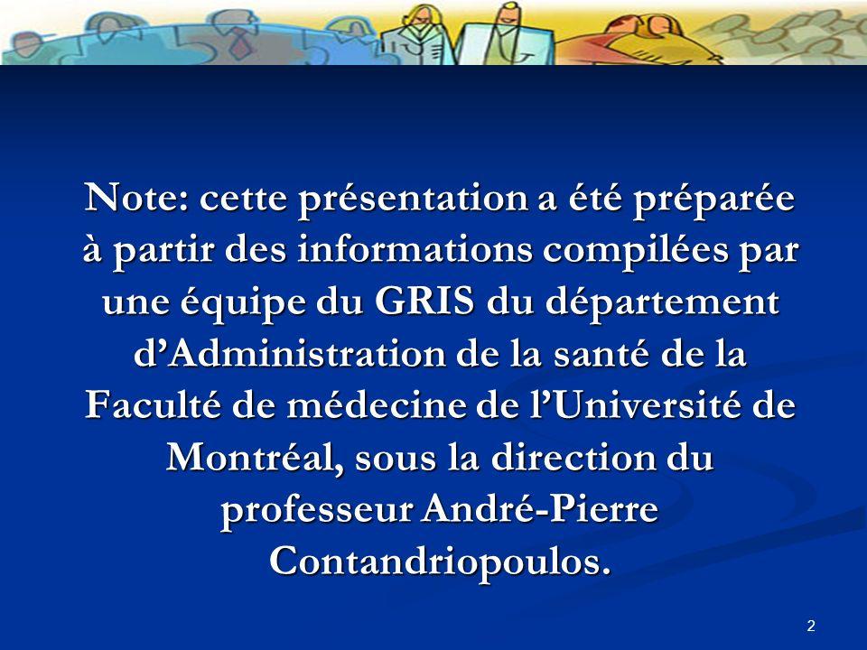 2 Note: cette présentation a été préparée à partir des informations compilées par une équipe du GRIS du département dAdministration de la santé de la Faculté de médecine de lUniversité de Montréal, sous la direction du professeur André-Pierre Contandriopoulos.
