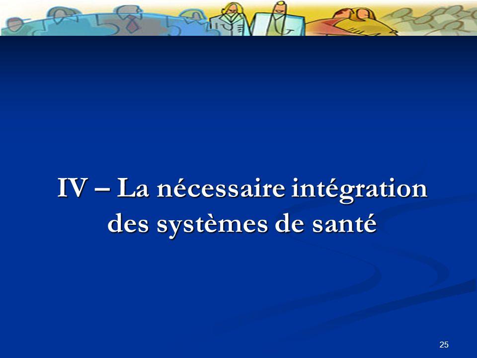 25 IV – La nécessaire intégration des systèmes de santé