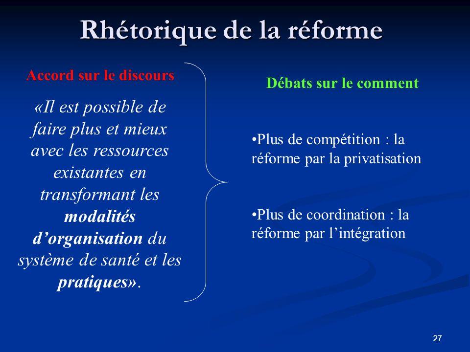 27 Rhétorique de la réforme Accord sur le discours «Il est possible de faire plus et mieux avec les ressources existantes en transformant les modalités dorganisation du système de santé et les pratiques».