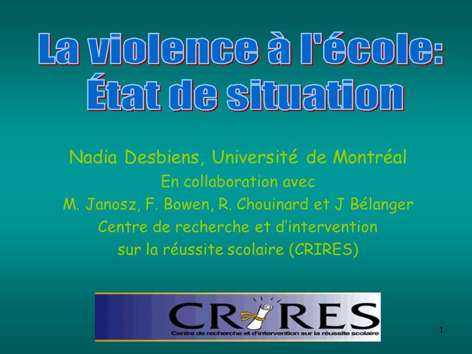 1 Nadia Desbiens, Université de Montréal En collaboration avec M. Janosz, F. Bowen, R. Chouinard et J Bélanger Centre de recherche et dintervention su