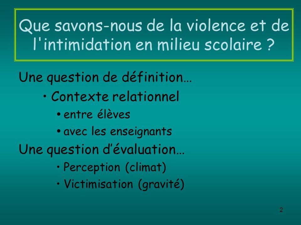 2 Que savons-nous de la violence et de l'intimidation en milieu scolaire ? Une question de définition… Contexte relationnel entre élèves avec les ense