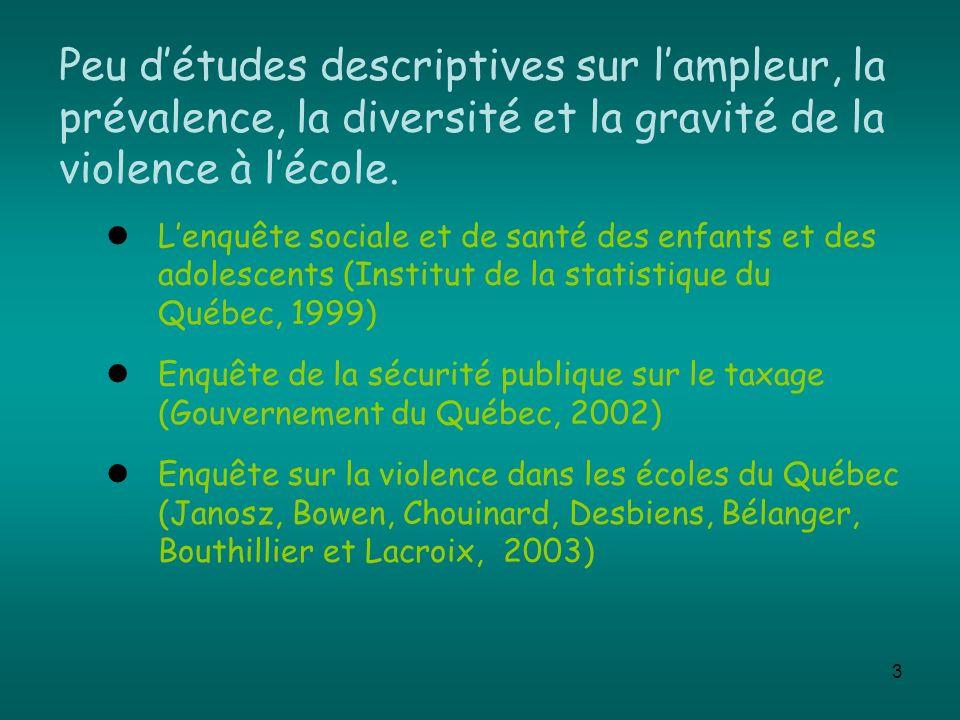 3 Peu détudes descriptives sur lampleur, la prévalence, la diversité et la gravité de la violence à lécole. Lenquête sociale et de santé des enfants e