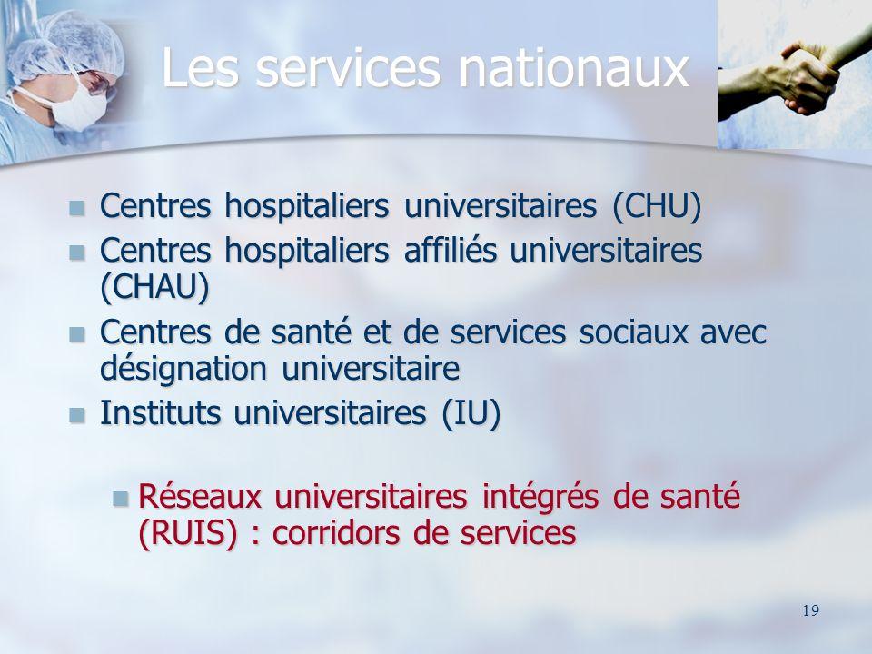 19 Les services nationaux Centres hospitaliers universitaires (CHU) Centres hospitaliers universitaires (CHU) Centres hospitaliers affiliés universitaires (CHAU) Centres hospitaliers affiliés universitaires (CHAU) Centres de santé et de services sociaux avec désignation universitaire Centres de santé et de services sociaux avec désignation universitaire Instituts universitaires (IU) Instituts universitaires (IU) Réseaux universitaires intégrés de santé (RUIS) : corridors de services Réseaux universitaires intégrés de santé (RUIS) : corridors de services