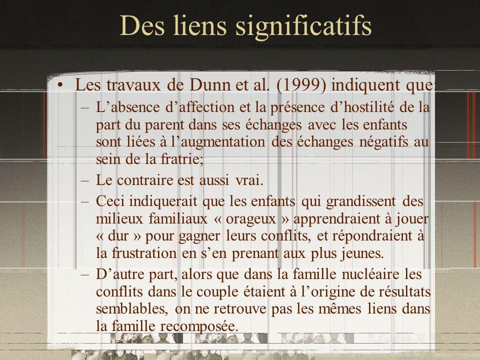 Des liens significatifs Les travaux de Dunn et al. (1999) indiquent que: –Labsence daffection et la présence dhostilité de la part du parent dans ses