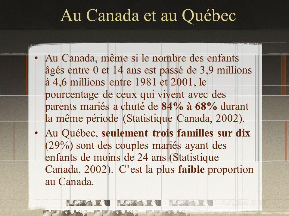 Au Canada et au Québec Au Canada, même si le nombre des enfants âgés entre 0 et 14 ans est passé de 3,9 millions à 4,6 millions entre 1981 et 2001, le