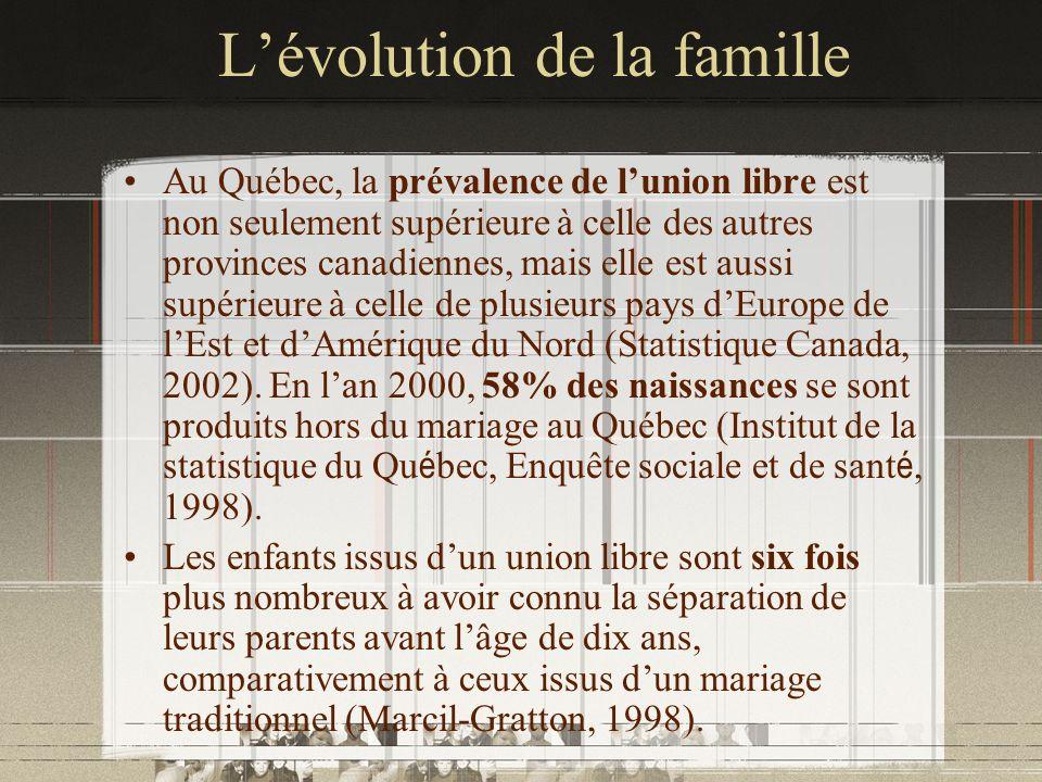 Lévolution de la famille Au Québec, la prévalence de lunion libre est non seulement supérieure à celle des autres provinces canadiennes, mais elle est
