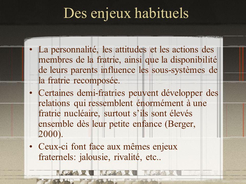 Des enjeux habituels La personnalité, les attitudes et les actions des membres de la fratrie, ainsi que la disponibilité de leurs parents influence le