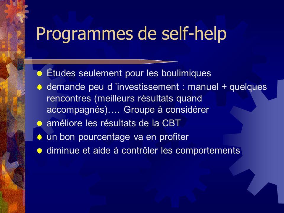 Programmes de self-help Études seulement pour les boulimiques demande peu d investissement : manuel + quelques rencontres (meilleurs résultats quand a