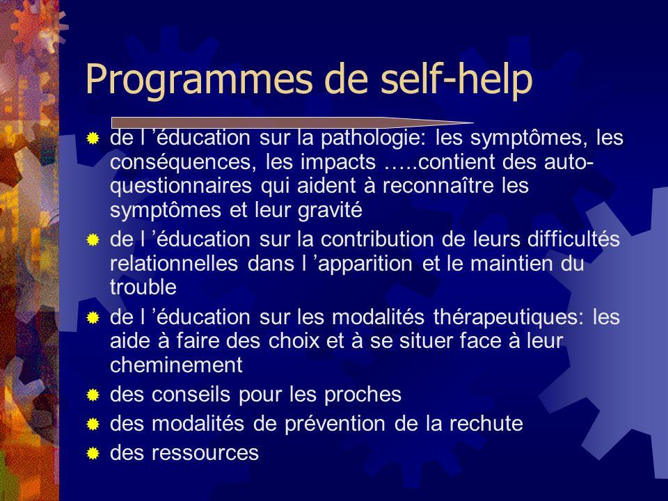Programmes de self-help de l éducation sur la pathologie: les symptômes, les conséquences, les impacts …..contient des auto- questionnaires qui aident