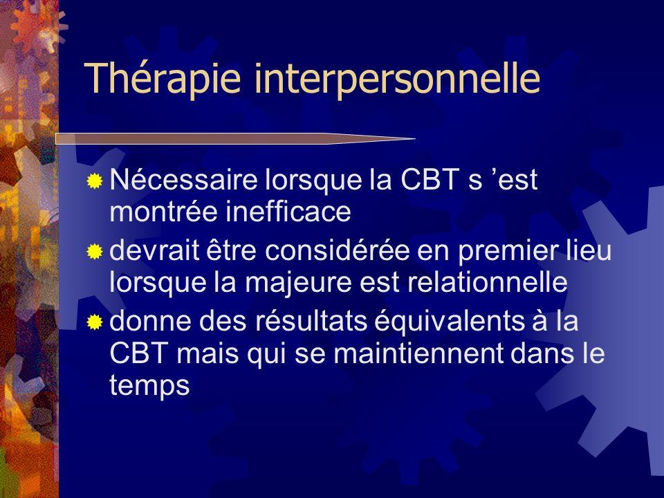 Thérapie interpersonnelle Nécessaire lorsque la CBT s est montrée inefficace devrait être considérée en premier lieu lorsque la majeure est relationne