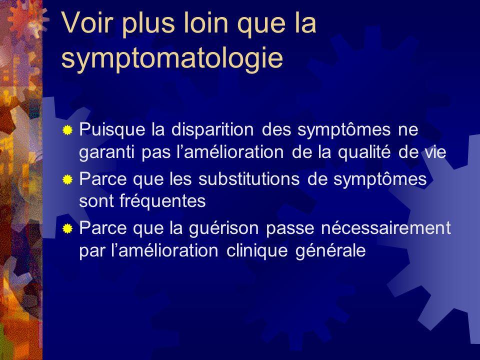 Voir plus loin que la symptomatologie Puisque la disparition des symptômes ne garanti pas lamélioration de la qualité de vie Parce que les substitutio