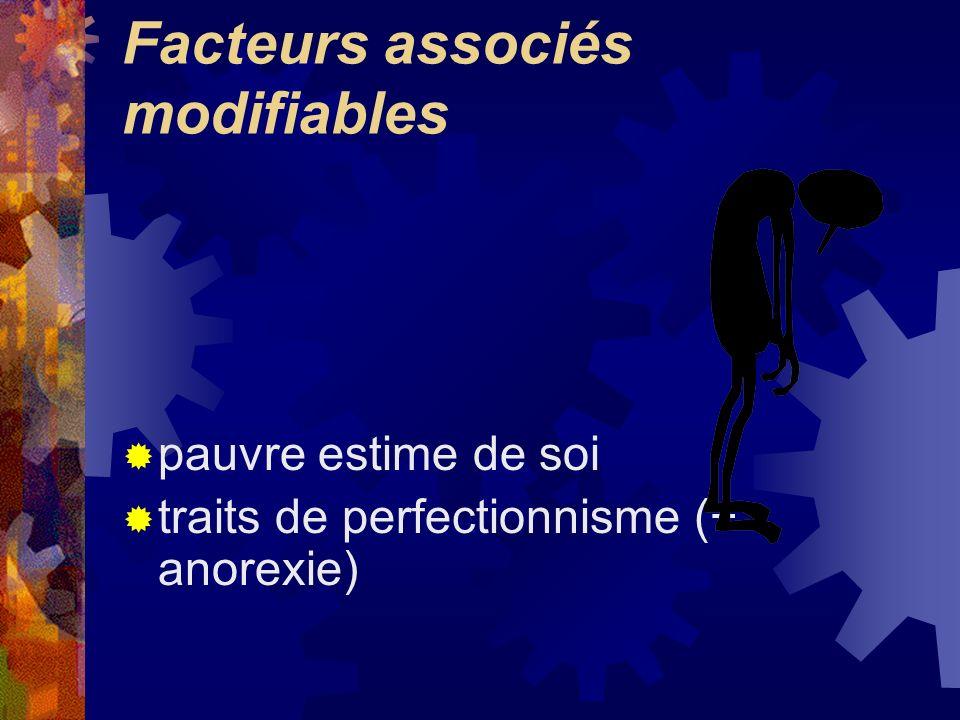 Facteurs associés modifiables pauvre estime de soi traits de perfectionnisme (+ anorexie)