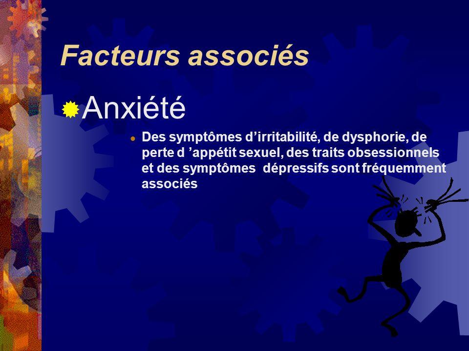 Facteurs associés Anxiété Des symptômes dirritabilité, de dysphorie, de perte d appétit sexuel, des traits obsessionnels et des symptômes dépressifs s