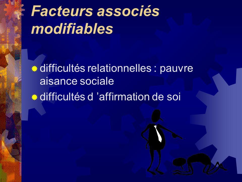 Facteurs associés modifiables difficultés relationnelles : pauvre aisance sociale difficultés d affirmation de soi