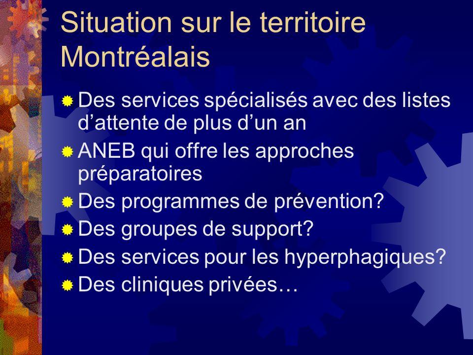 Situation sur le territoire Montréalais Des services spécialisés avec des listes dattente de plus dun an ANEB qui offre les approches préparatoires De