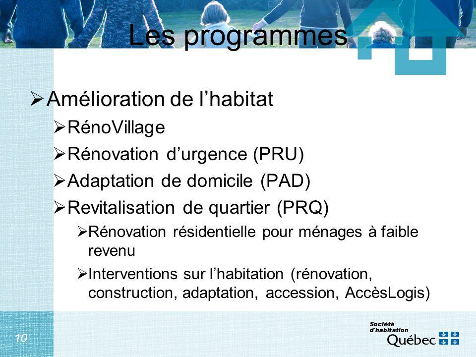 10 Les programmes Amélioration de lhabitat RénoVillage Rénovation durgence (PRU) Adaptation de domicile (PAD) Revitalisation de quartier (PRQ) Rénovat