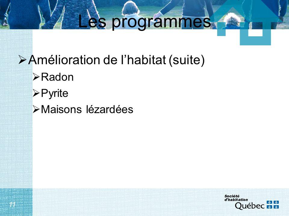 11 Les programmes Amélioration de lhabitat (suite) Radon Pyrite Maisons lézardées